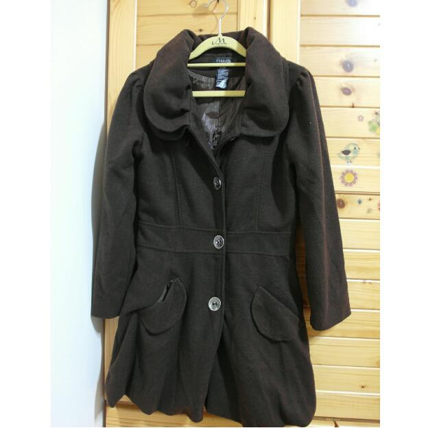 歐風玫瑰領咖啡色大衣外套
