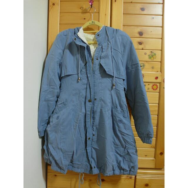 淺藍蜜桃絨保暖大衣外套