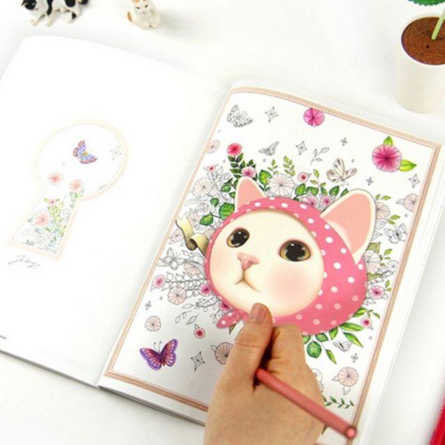 韓版療癒貓咪塗色收藏本繪本