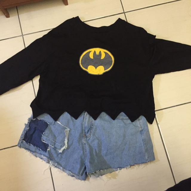 長袖短版蝙蝠衣