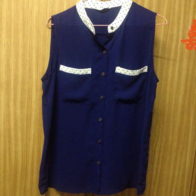 二手衣~藍白點雪紡襯衫