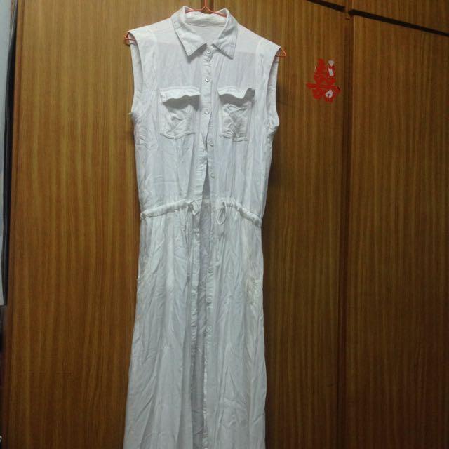 二手衣~白色襯衫長洋