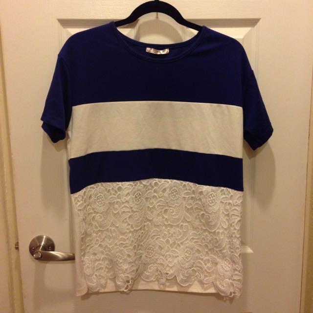 (紅標)二手- 氣質蕾絲藍白相間上衣