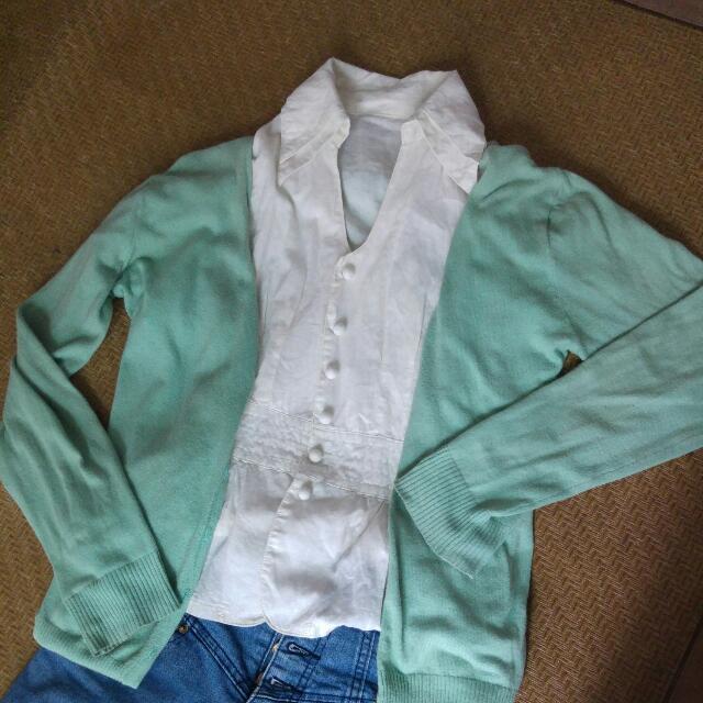 米白短袖襯衫 百搭款 氣質 小性感 蝴蝶結 OL #100元上衣