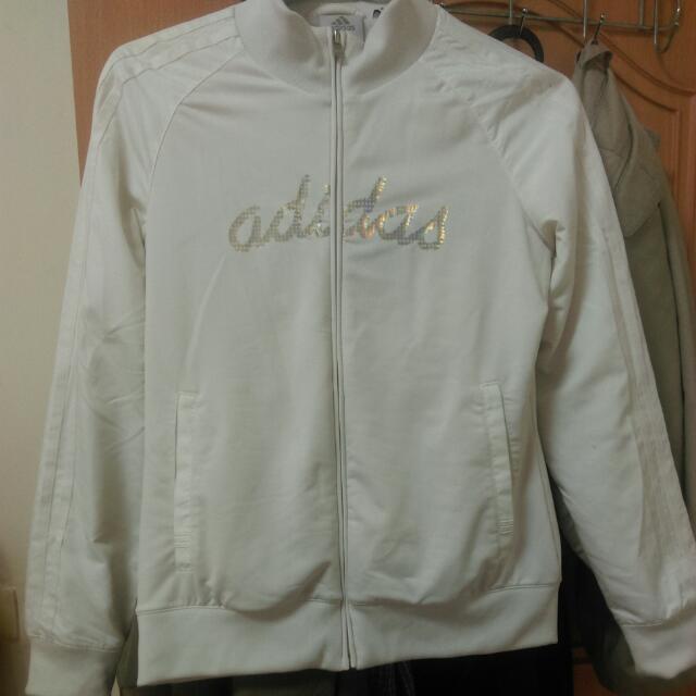 Adidas 白色 閃亮字樣 運動外套