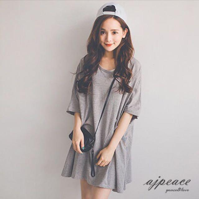 Ajpeace韓國斜線單口袋寬版上衣T 郵寄含運