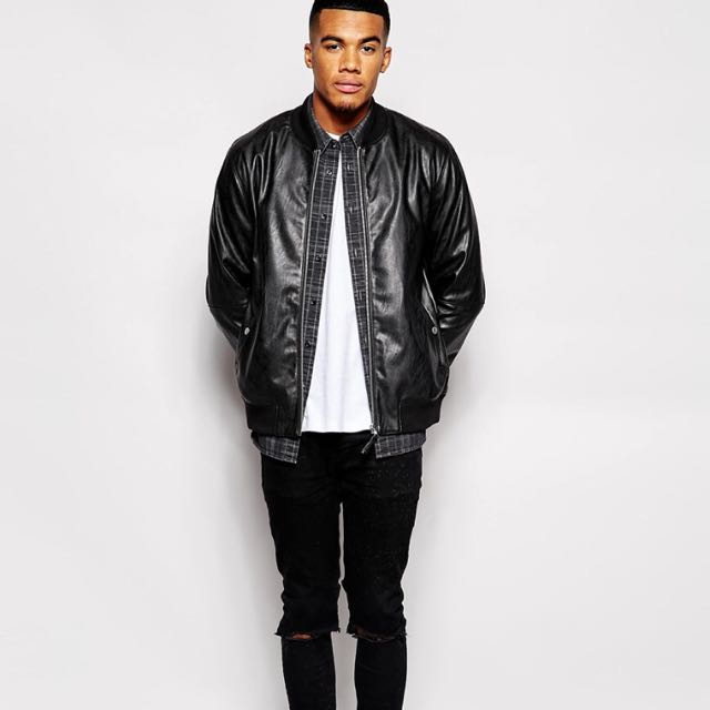 Asos Leather Bomber Jacket 皮棒球外套 MA1