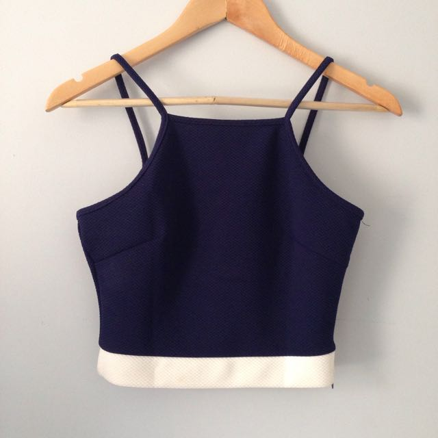 Navy Blue And White Crop Top