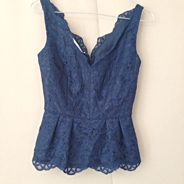 Brand New Navy Blue Lace top