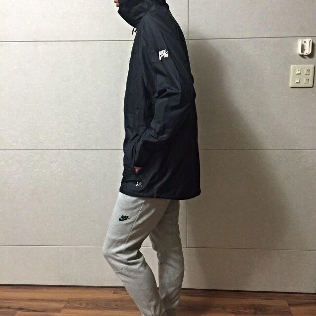 Nike Sb 長版 風衣 外套 黑色 韓國