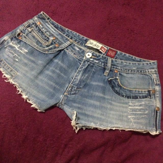 衝浪品牌Quiksilver 復古牛仔短褲 自己改的獨一無二 低腰36 中大尺碼