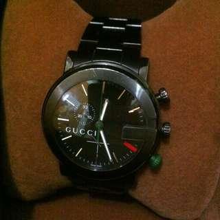 Gucci 經典款 黑 鋼錶