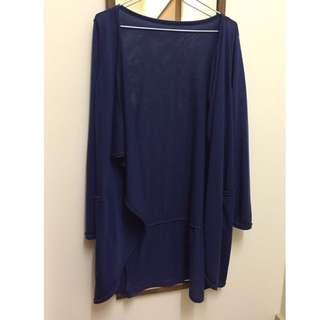 百搭顯瘦 深藍色長版薄罩衫/外套