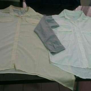 雪紡上衣+襯衫(加贈腰鍊)