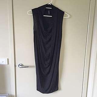 Saxony Black Cowl Front Dress - Size Small