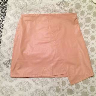 Baby Pink Faux Leather Skirt