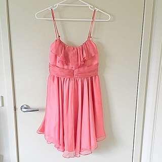 Peach Satin Dress - Size Small