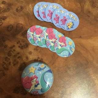 迪士尼 小美人魚 小飛象 小圓鐵盒