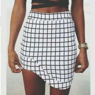 Black And White Asymmetrical skirt