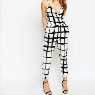 Black And White Checkered Jumpsuit