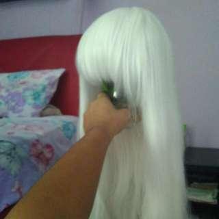Long Straight White Wig 70cm