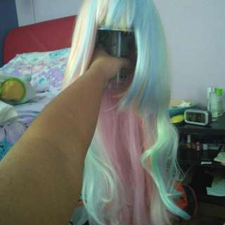 Long Curly Rainbow Pastel Harajuku Wig 80cm