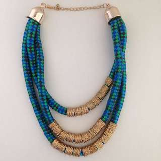 Blue Green Gold Necklace