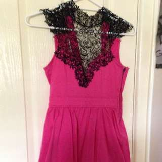 Size 10 Pink dress with black lace detailing