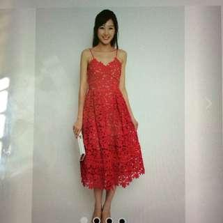 Faire Belle Premium Hudson Crochet Dress (Red)