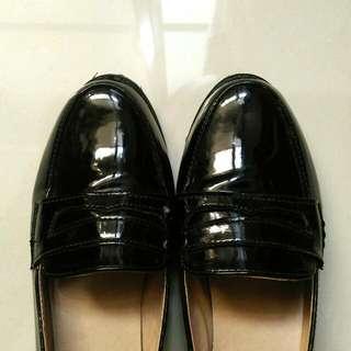(保留)文青女孩🍊小黑皮鞋