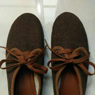 (保留)文青女孩🍊棕色綁帶平底鞋