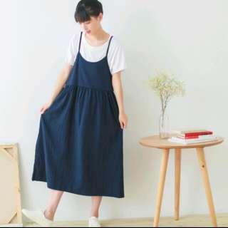 (保留)(含運)文青女孩🍊大裙擺吊帶洋裝