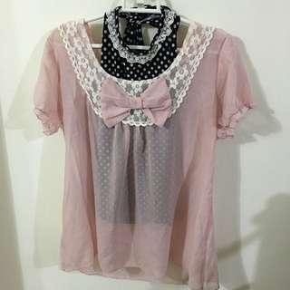 ✌️(可拆賣)粉色雪紡上衣+點點背心✌️