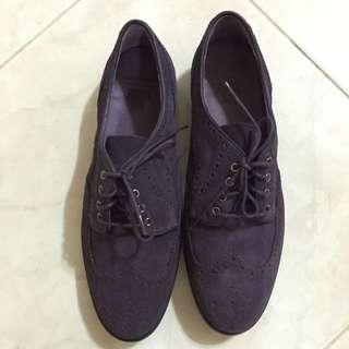Anna Sui Purple Suede Oxford Shoes