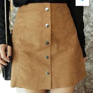 秋日不可缺的麂皮排扣短裙S號