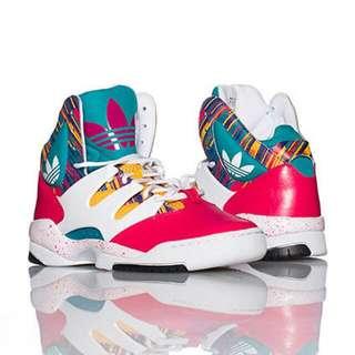 Jolin代言過的adidas Originals GLC SNEAKER 跳舞人必備 彩虹 黃綠紅 潑墨 運動鞋 24.5/25