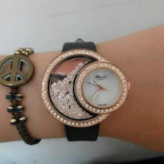 ::降::玫瑰金水鑽手錶