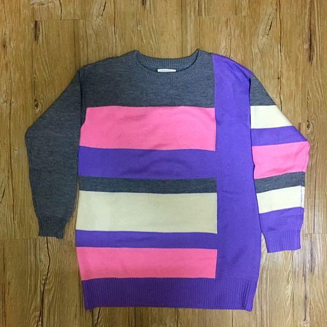 幾何橫向條紋毛衣