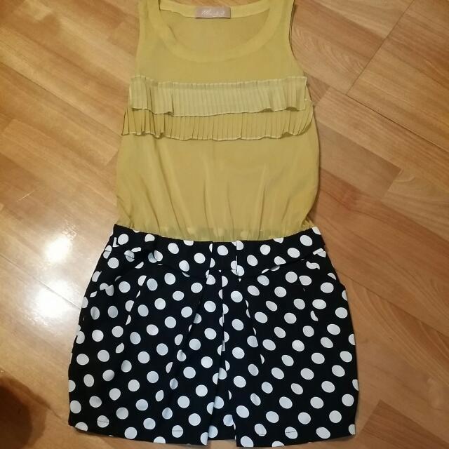 漂亮芥末黃無袖洋裝