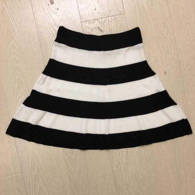 針織傘狀高腰短裙