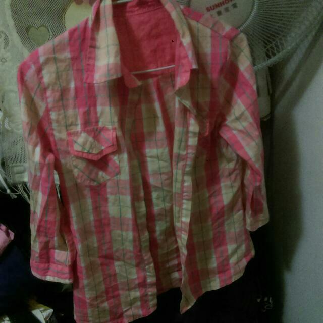 粉嫩色系格子襯衫