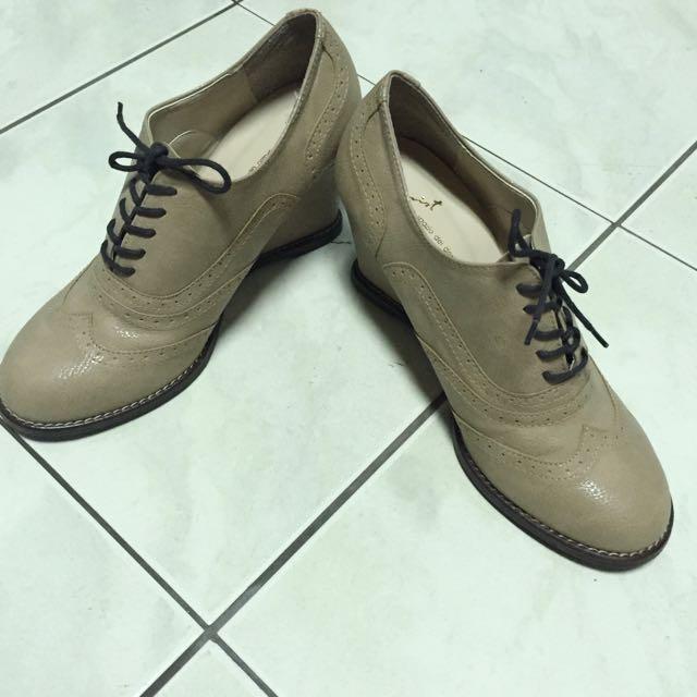 (全新)正韓 膚色牛津楔型鞋