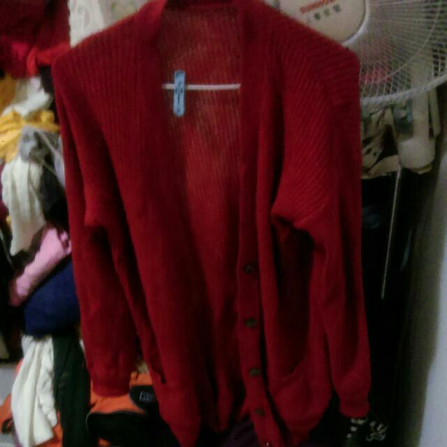 紅針織外套 長版