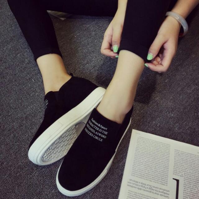 韓版黑色厚底鞋  內增高  休閒鞋