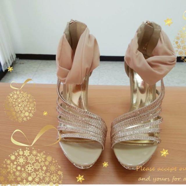 (售) Itabella~水鑽綁帶粉色高跟涼鞋