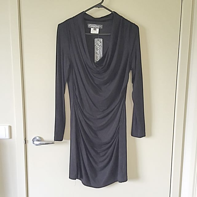 Black Cowl Neck Dress - Size 10