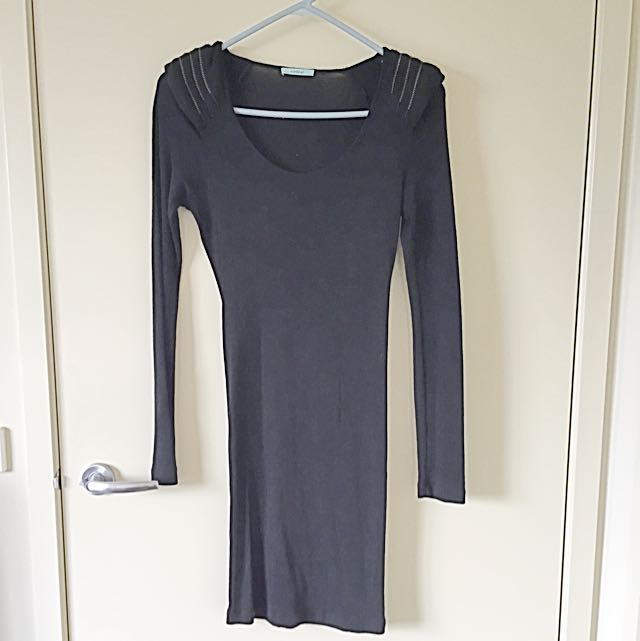 Kookai Black Long Sleeve Wool Dress - Size 1