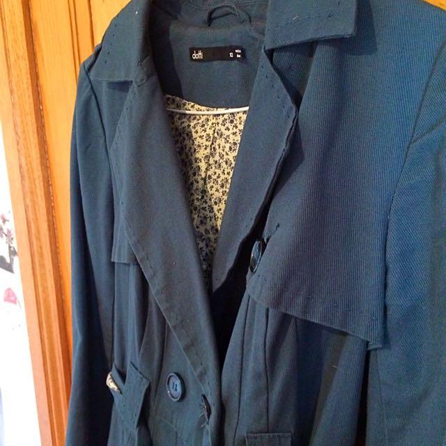Classy Green Trench Coat Dotti Size 10