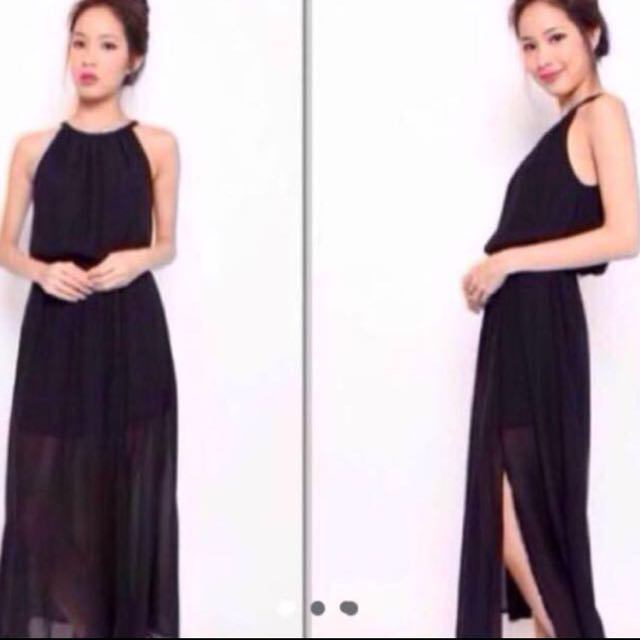 High Necked Black Maxi Dress