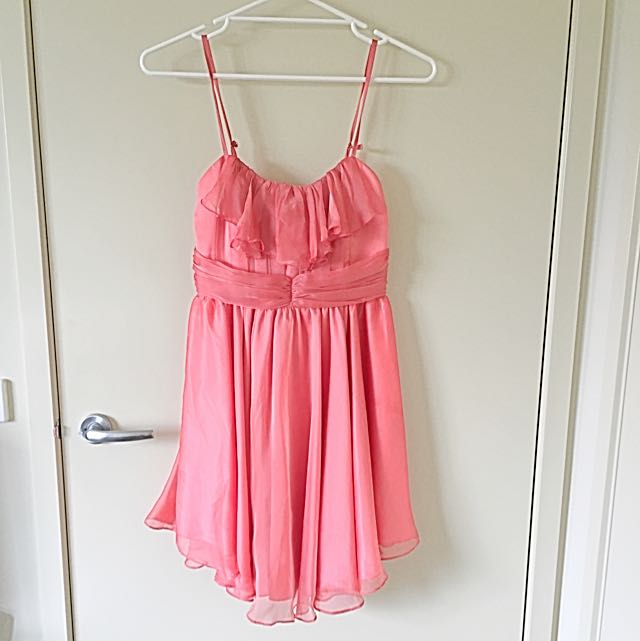 Peach Satin Dress - Size Small